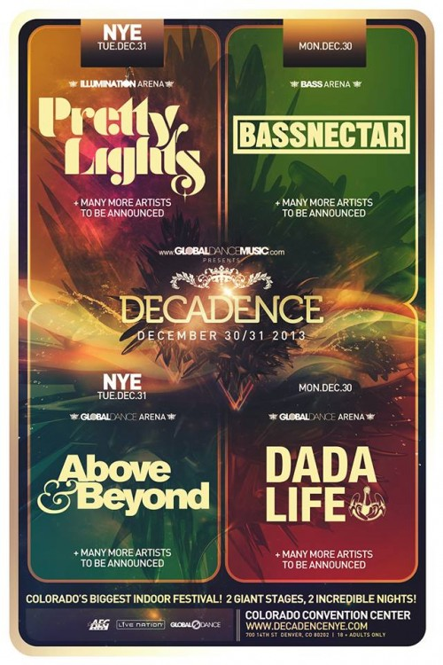 Pretty Lights, Bassnectar, Dada Life, and Above & Beyond Announce NYE Show in Denver