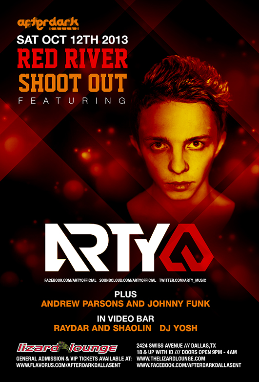 [TSS Giveaway] 5 tickets to Arty in Dallas, TX 10/12/13 – Lizard Lounge