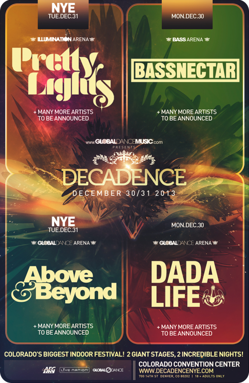 Decadence NYE 2013 Schedule and Preview w/ Pretty Lights, Bassnectar, Above & Beyond, Tiesto, Dada Life, and More