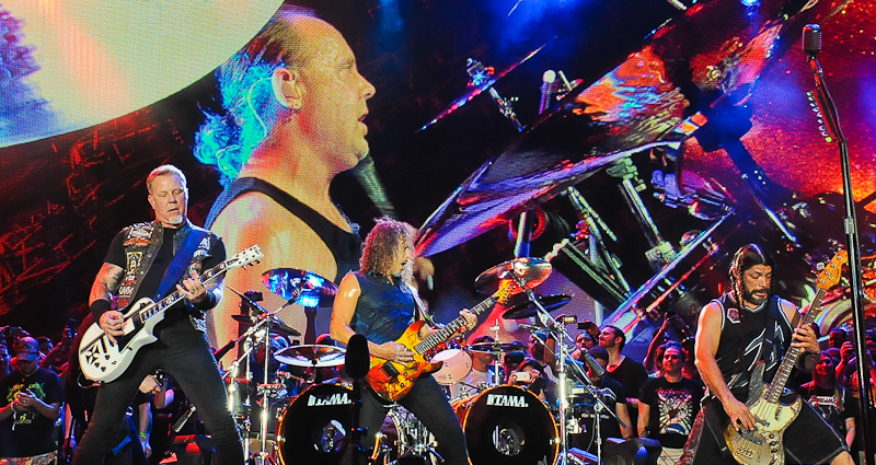 James Hetfield, Lars Ulrich, Kirk Hammett and Robert Trujillo perform in concert during X Games Austin at Circuit of The Americas on June 6, 2015 in Austin, Texas.