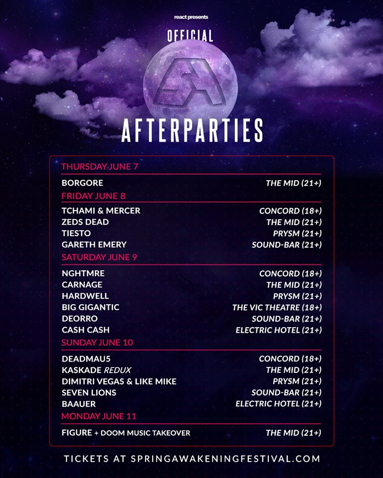 Spring Musical 2018: Spring Awakening Music Festival Announces 2018 Afterparties