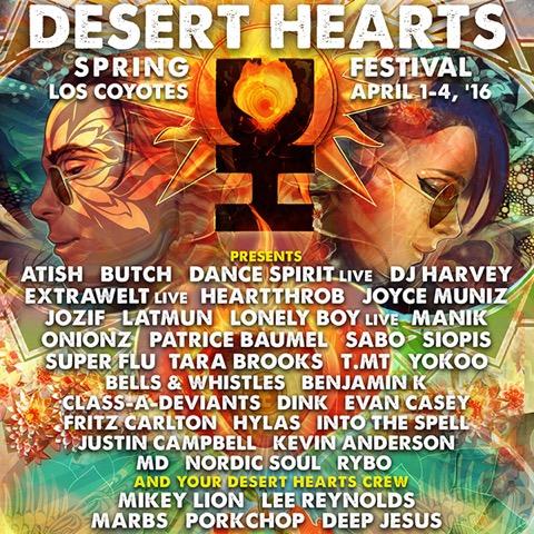 Desert Hearts Festival 2020.Desert Hearts Spring Lineup Includes Dj Harvey Extrawelt