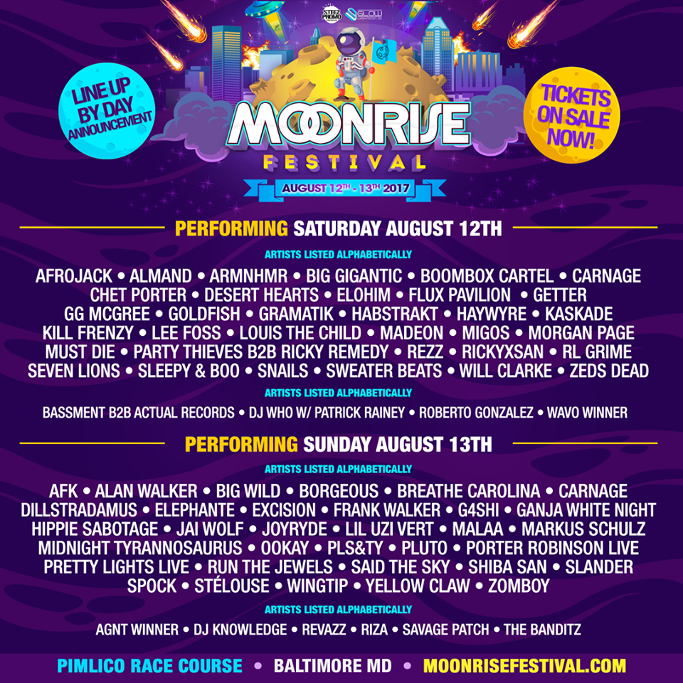 Moonrise Festival 2020.Moonrise Reveals Daily Lineups For Their 2017 Festival