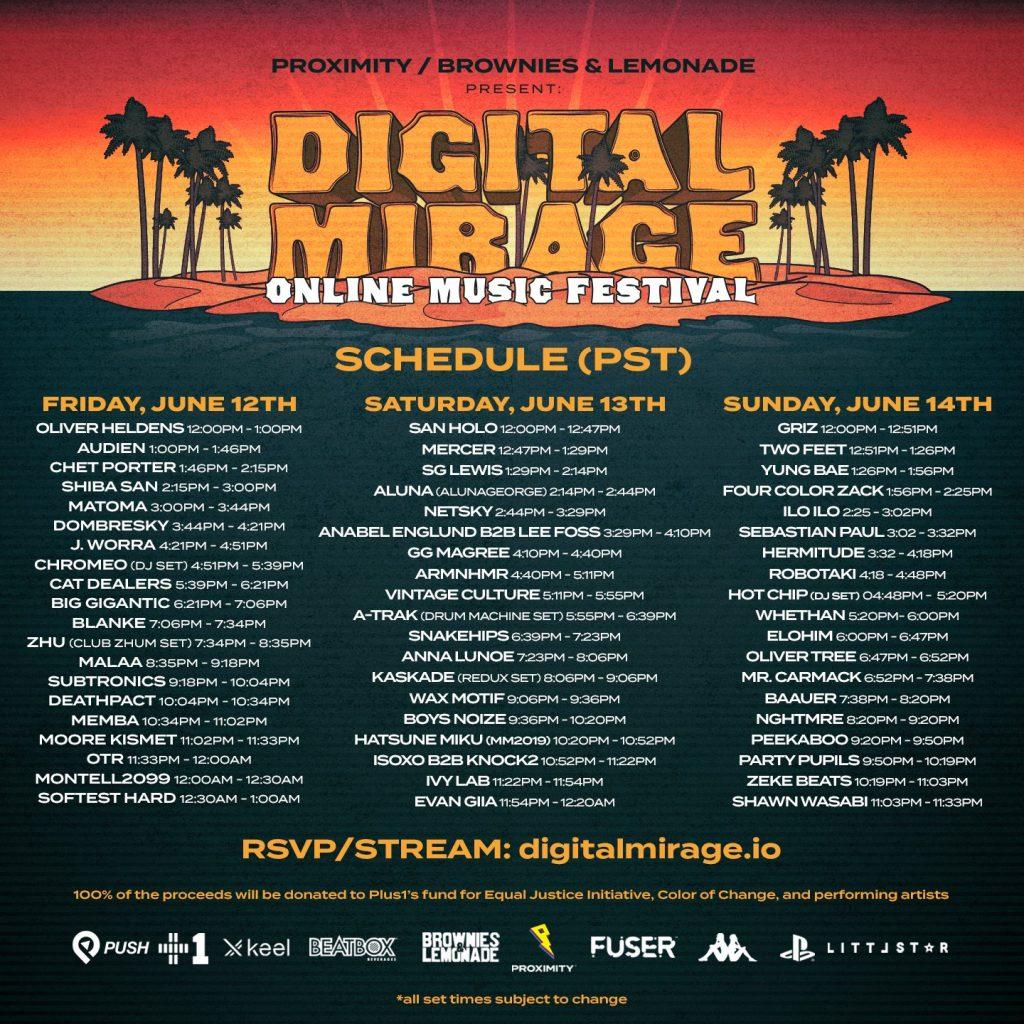 Digital Mirage 2.0 set times